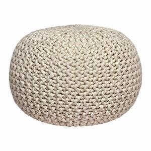 Krémovobiely pletený puf LABEL51 Knitted