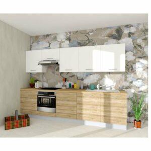 Kuchynská zostava FACHMAN B1, 304 cm, biela vysoký lesk/dub alicante