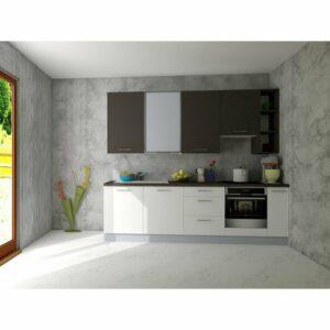 Kuchynská zostava FACHMAN B11, 274 cm, antracitová vysoký lesk/biela vysoký lesk