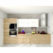 Kuchynská zostava FACHMAN B3, 377 cm, dub alicante/biela vysoký lesk