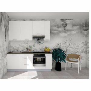 Kuchynská zostava FACHMAN B9, 214 cm, biela vysoký lesk