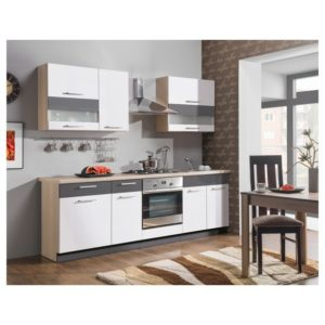 Kuchynská zostava MAXIMA, 240 cm, biela lesk/grafit matný