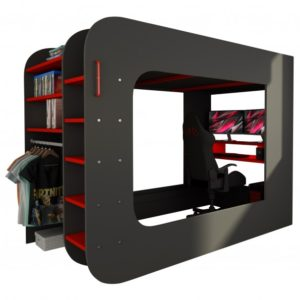 Poschodová posteľ s PC stolom MSPACE, sivá/červená