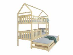 Poschodová posteľ s prístelkou Domček 200×90 – prírodná