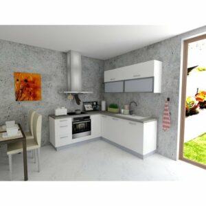 Rohová kuchynská zostava FACHMAN B6, 202×217 cm, biela vysoký lesk