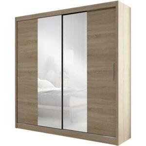 Skriňa Ola 200 cm dub sonoma s zrkadlom