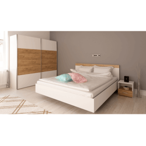 Spálňový komplet (posteľ 160×200 cm), biela/dub artisan, GABRIELA