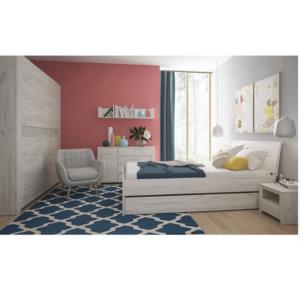 Spálňový komplet, (skriňa, posteľ 160×200, 2x nočný stolík), biela craft, ANGEL