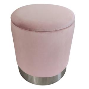 Taburet s úložným priestorom, ružová Velvet látka/strieborná chróm, DARON