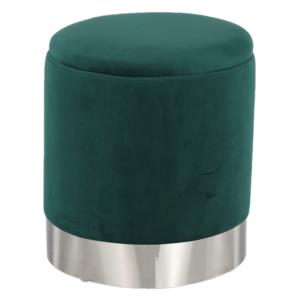 Taburet s úložným priestorom, zelená Velvet látka/strieborná chróm, DARON