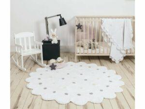 Okrúhly prateľný koberec Dots White