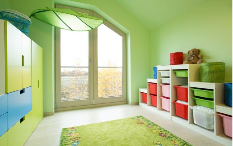 Zelený detský koberec